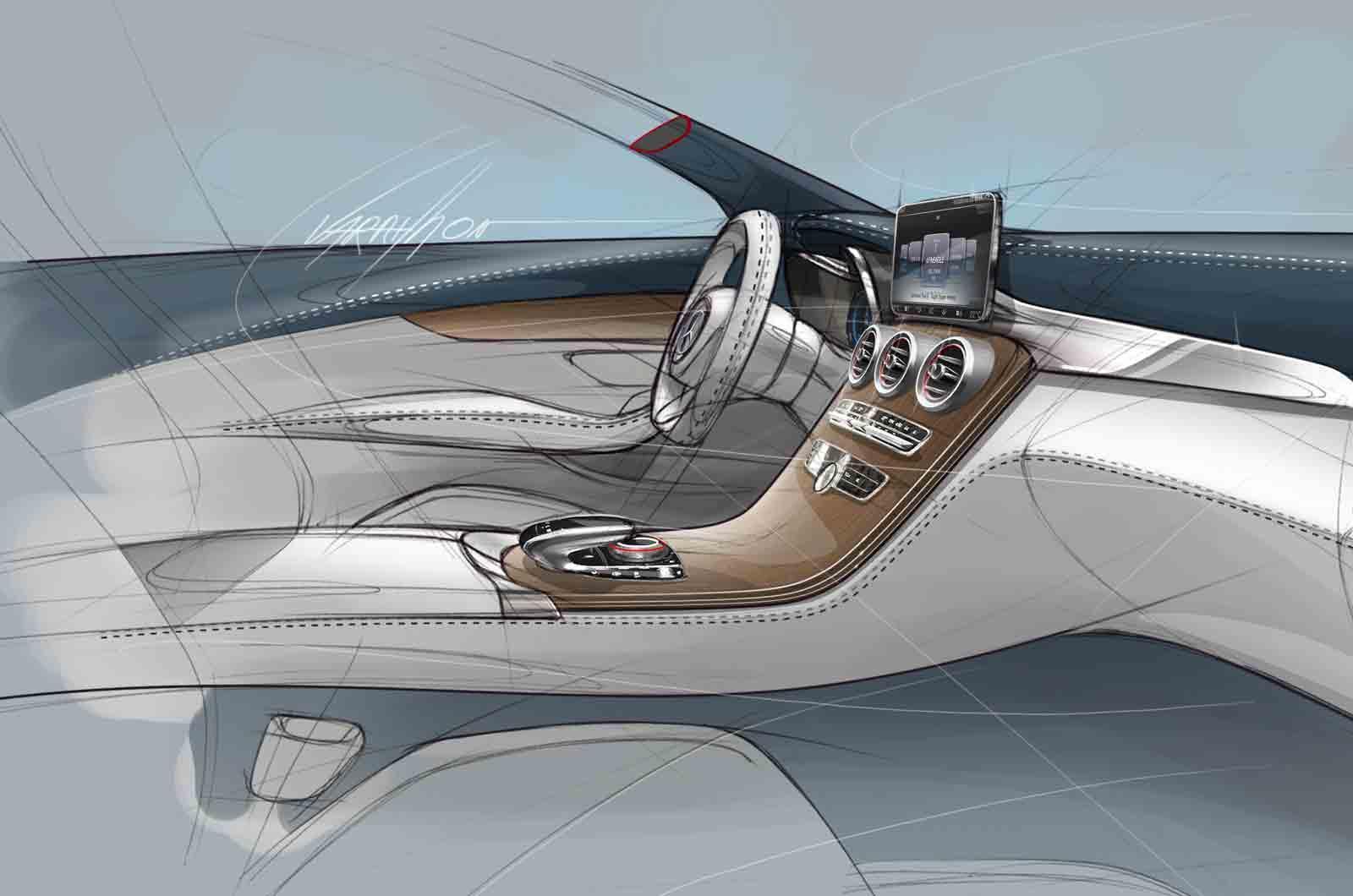 2014 mercedes benz c class interior sketch 2 - 2014 mercedes c class interior ...