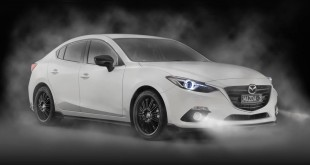 2014 Mazda 3 sedan with Kuroi sports pack front quarter