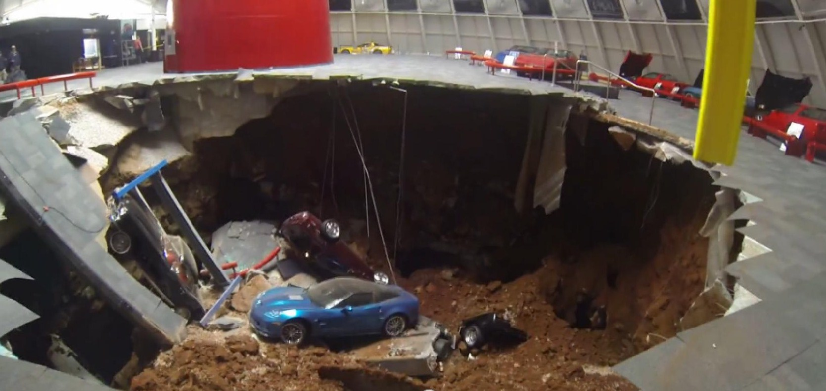 Chevrolet Cars News Sinkhole Swallows Rare Corvettes In Us