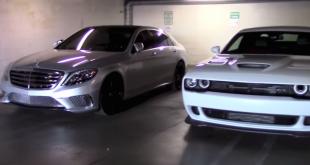 Mercedes S65 AMG vs Dodge Challenger Hellcat start-up battle