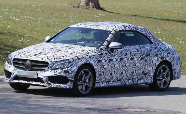 Mercedes C-Class cabriolet spy photo front quarter