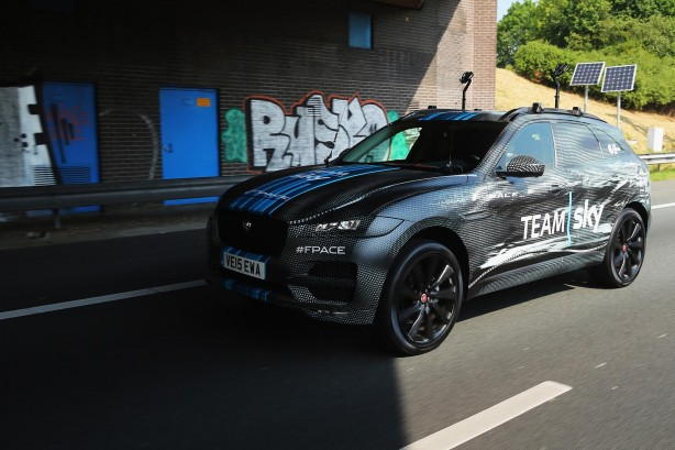 Jaguar F-PACE Team Sky support vehicle front quarter
