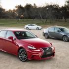 2015 Lexus IS 200t range: F Sport (front), Sports Luxury and Luxury (rear)