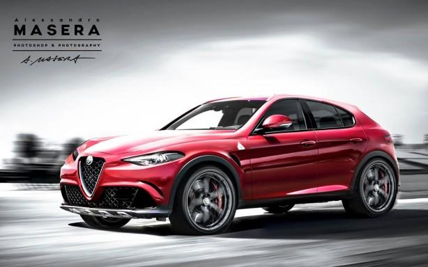 Alfa Romeo SUV render front quarter