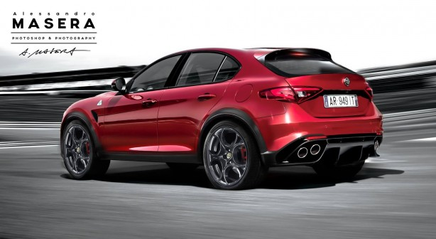 Alfa Romeo SUV render rear quarter