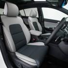 2016 Kia Sportage Platinum grey leather two-toned interior.