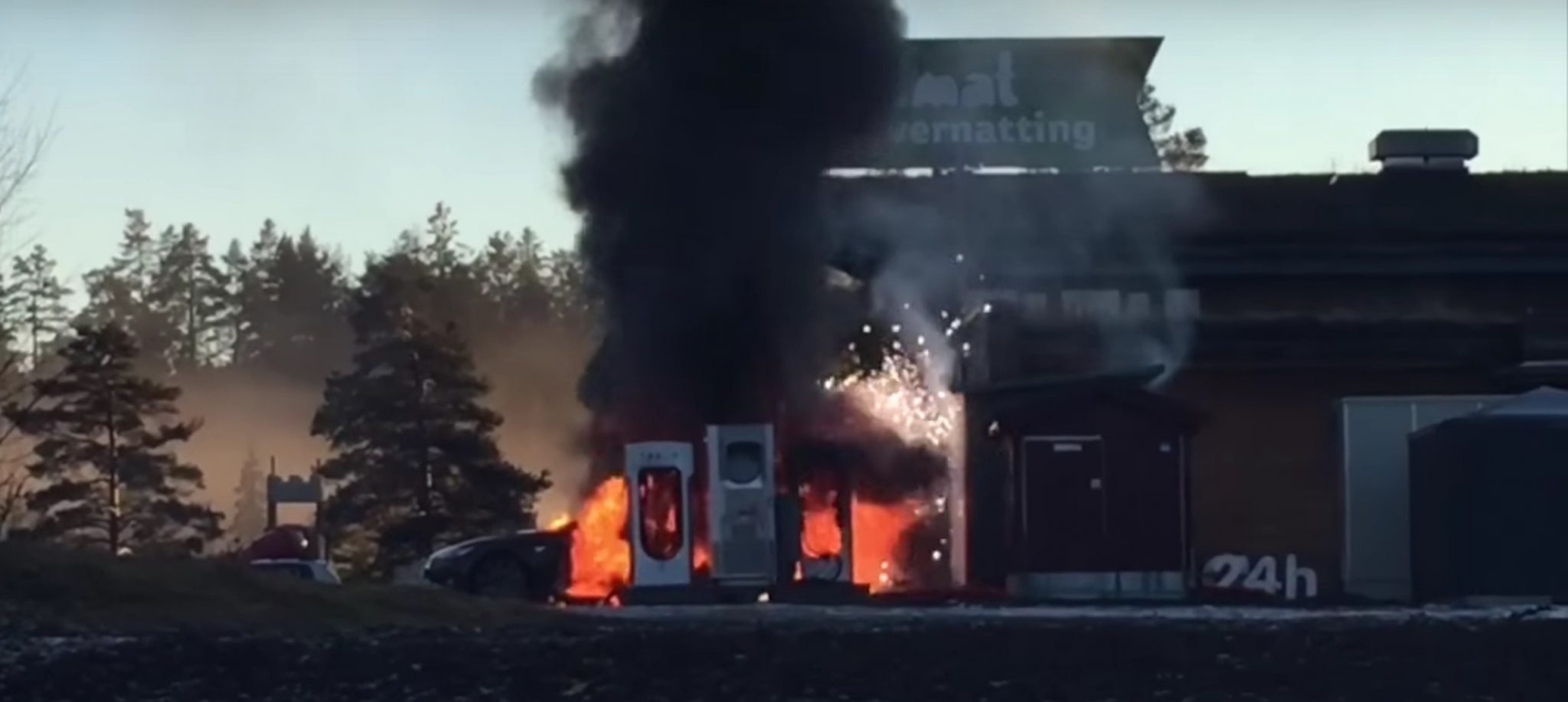 Tesla Model S engulfed in flames while charging in Norway