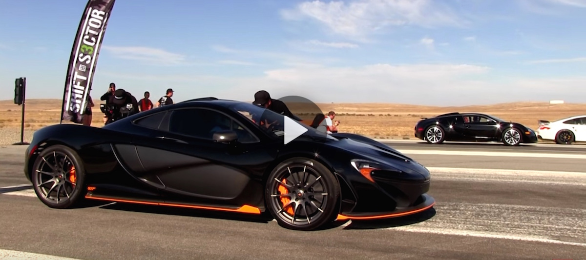 Epic Drag Race Bugatti Veyron Vs Mclaren P1 Video
