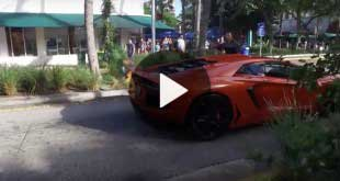 lamborghini aventador set on fire by valet in miami