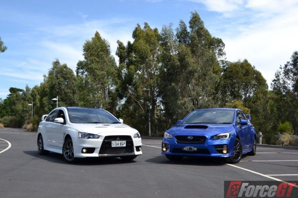 subaru wrx sti vs mitsubishi evolution The subaru wrx and mitsubishi lancer evolution compete in the  upgrading  to the wrx sti with a 25-liter engine would get you 305 hp and 290 lb-ft of.
