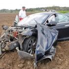 tesla model s crash in germany front quarter