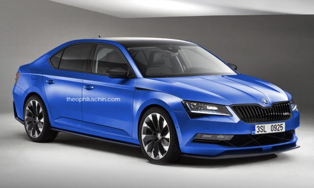 skoda superb vrs render front quarter