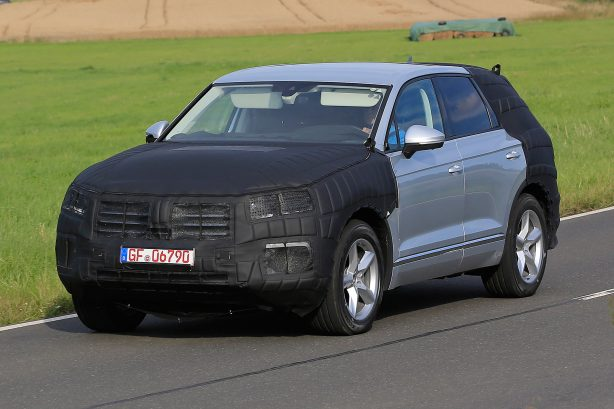 2017 volkswagen touareg spy photo front quarter