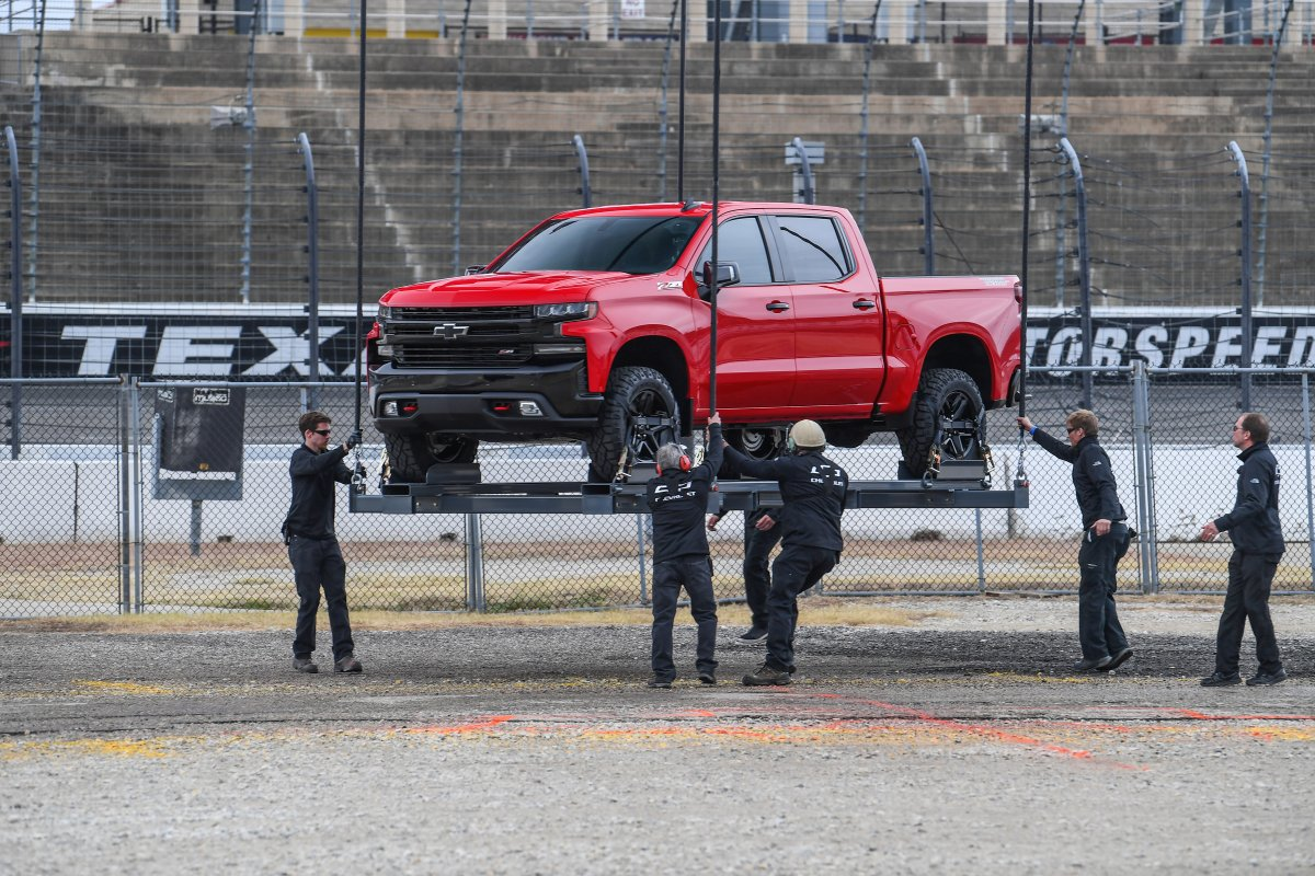 Helicopter Drops 2019 Chevrolet Silverado On Raceway For