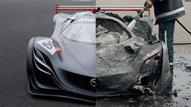 Mazda Furai concept burned in the hands of Top Gear