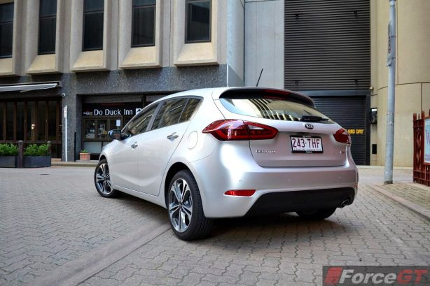 Kia Cerato Review-2013 Kia Cerato Hatch rear quarter