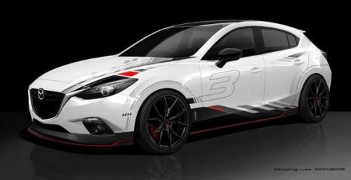 White Mazda3 concept for 2013 SEMA