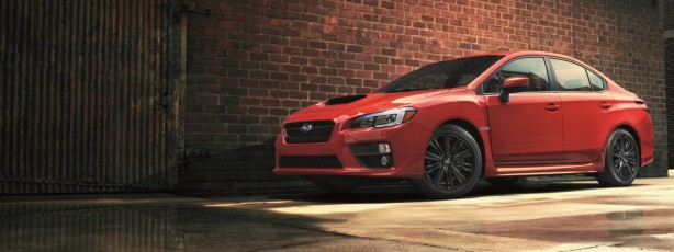 2014 Subaru WRX red front quarter-1