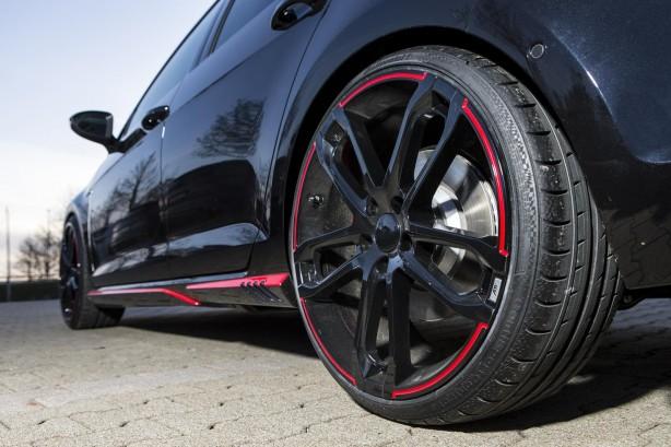 Volkswagen Mk7 Golf GTI Dark Edition by ABT 20-inch black alloys and side skirt