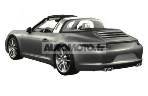 2014 Porsche 911 Targa patent image rear quarter roof open