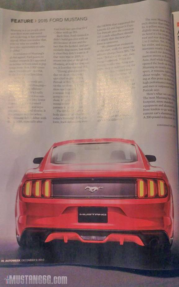 2015 Ford Mustang Autoweek leaked image rear