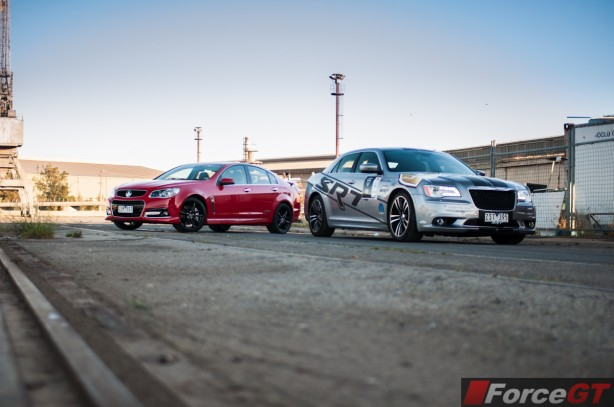 Holden v Chrysler Review - SSV Redline v 300 SRT8 front