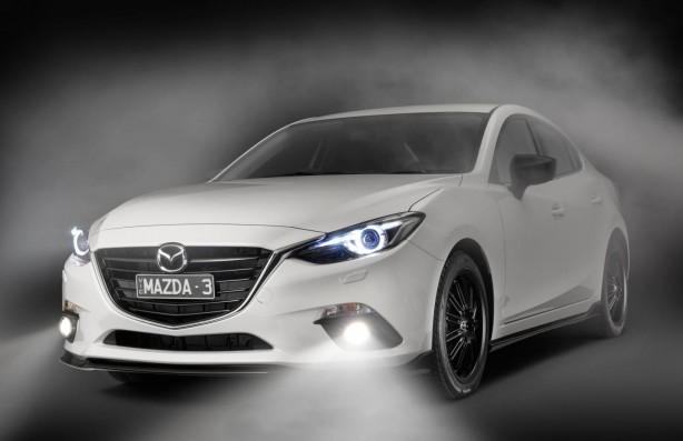 2014 Mazda 3 sedan with Kuroi sports pack front quarter-1