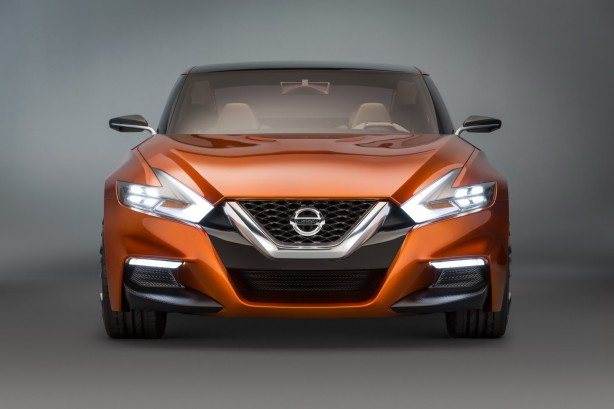 Nissan Sport Sedan Concept front lights on