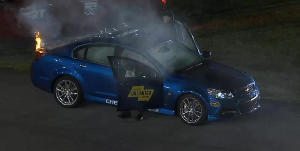 Chevrolet SS pace car fire at NASCAR