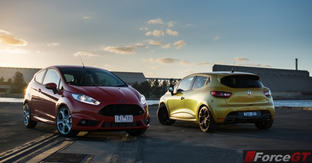 2014 Ford Fiesta ST front and 2014 Renault Clio RS back