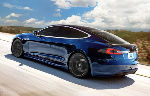 Blue Tesla Model S with Unplugged Performance kit