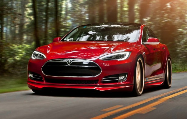 Red Tesla Model S with Unplugged Performance kit