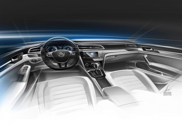 Volkswagen new Midsize Coupe Concept interior sketch
