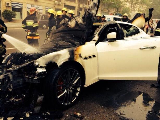 Maserati Quattroporte burnt in Azerbaijan