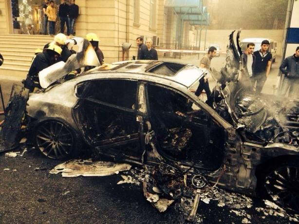 Maserati Quattroporte burnt in Azerbaijan side