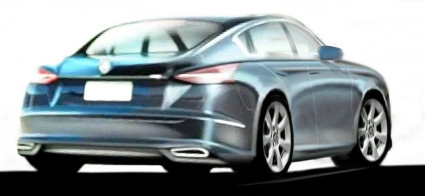 Unofficial sketch of a Holden Panamera-style model rear
