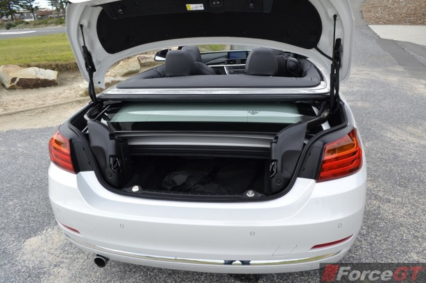 2014 BMW 4 Series Convertible boot space top down
