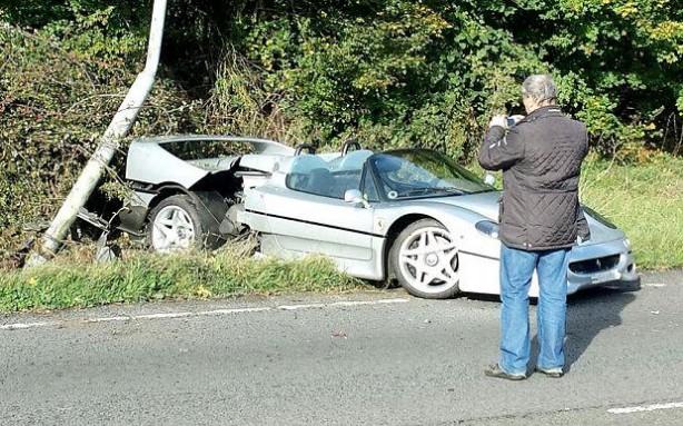 Ferrari F50 crash in the UK