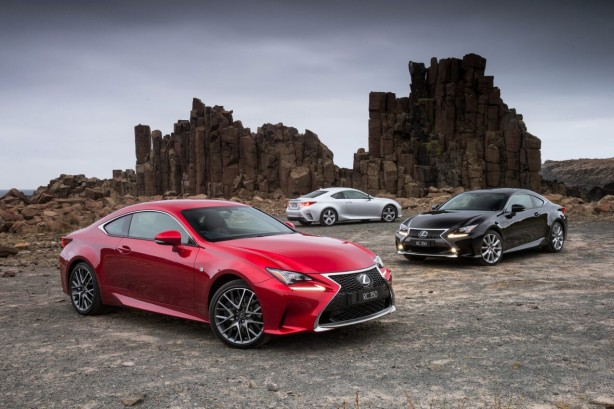 2014 Lexus RC 350 - F Sport (left), Sports Luxury (right) and Luxury