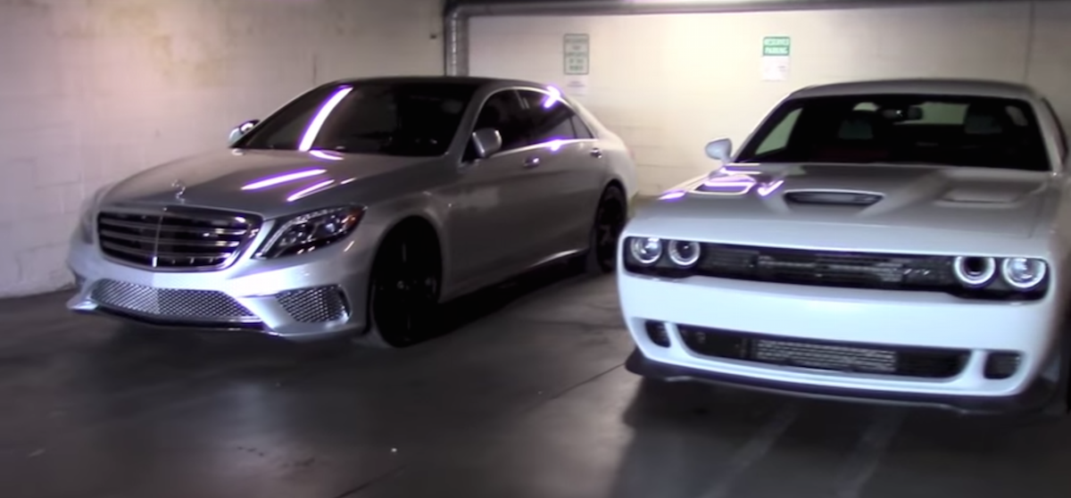 Mercedes S65 Amg Vs Dodge Challenger Hellcat In Start Up