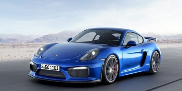 Porsche Cayman GT4 blue front quarter