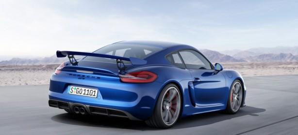 Porsche Cayman GT4 blue rear quarter
