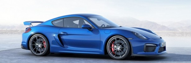 Porsche Cayman GT4 blue side-1