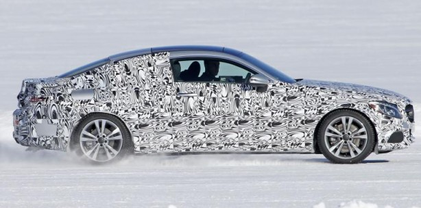 2016 Mercedes-Benz C-Class coupe spy photo side