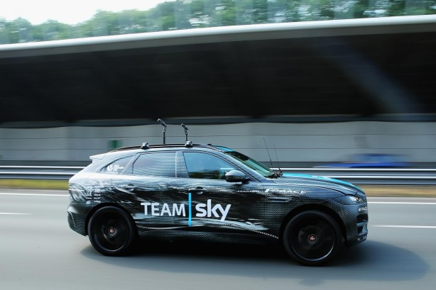 Jaguar F-PACE Team Sky support vehicle side