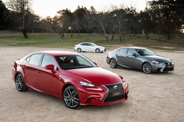 2015 Lexus IS 200t range: F Sport (front), Sports Luxury and Luxury (rear)