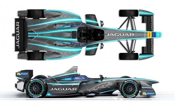 Jaguar Formula E racer side