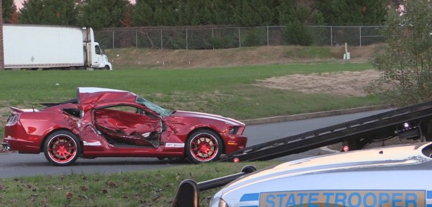 Shelby gt500 crashes into RAM 1500 pickup truck