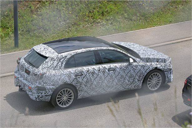 2018 mercedes-benz a-class spy photo rear quarter