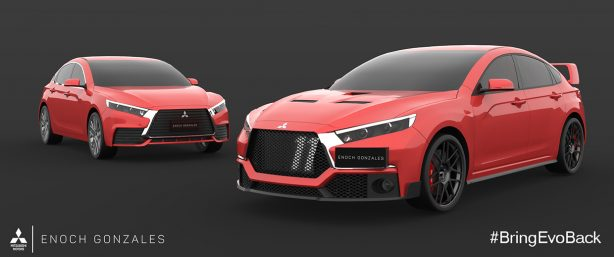 mitsubishi evo xi rendering by enoch gonzales red